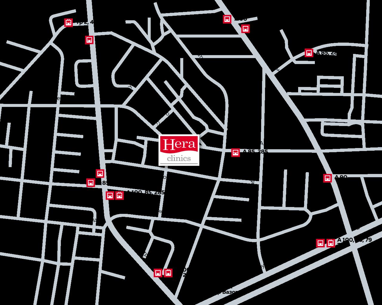 Карта с транспорт до медицински център Хера